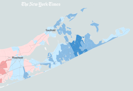 2020 Election results, Long Island. Courtesy: New York Times