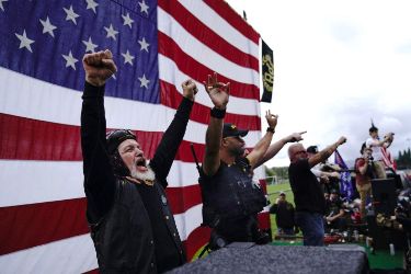 The Proud Boys demonstrate in Portland, Ore. Courtesy: Associated Press