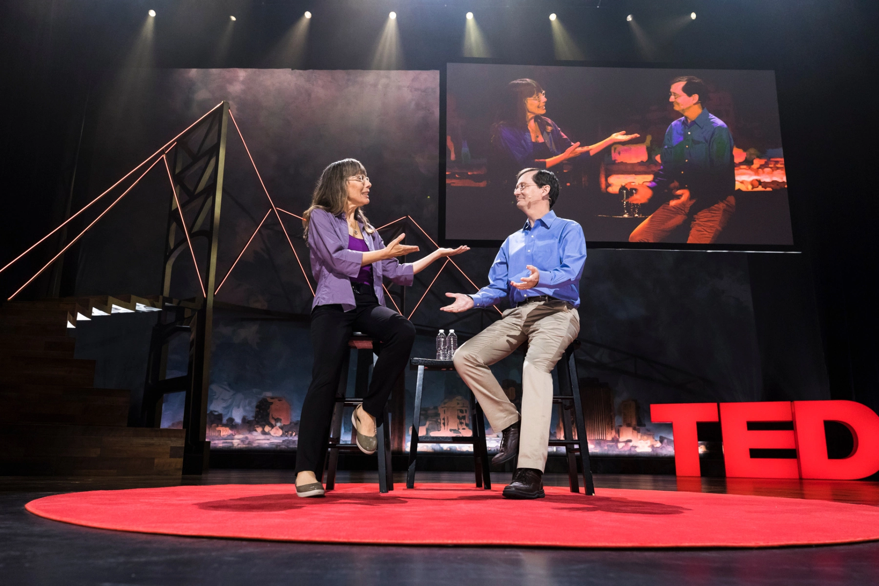 Joan Blades and John Gable talk about filter bubbles and bridging divides through civil discourse at TEDWomen 2017 in New Orleans, Louisiana