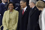 Michelle Obama, President Barack Obama, President George W. Bush, and Laura Bush
