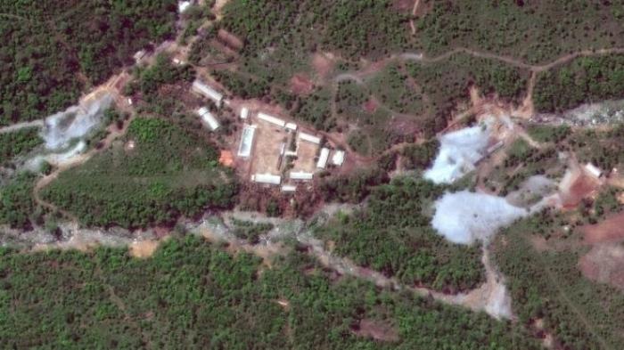 A satellite image of the Punggye-ri site